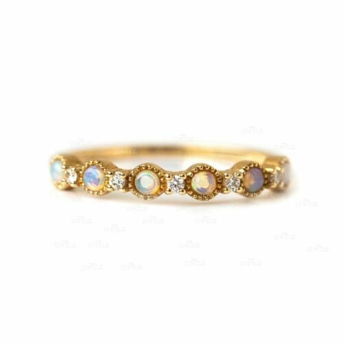 Or 14K véritable diamant et Opale Gemme Bague de fiançailles Fine Jewelry