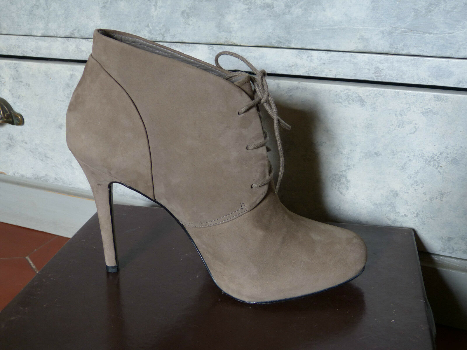 °°° CHAUSSURES MINELLI BEIGE / GRIS TAUPE T F 38 I 37 ETAT NEUF + BOITE
