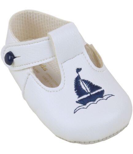 BabyPrem Baby Clothes Boys White Blue Pre-Walker Soft Pram Shoes 0-18 months