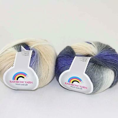 Hot 1Ball*50g Soft Cashmere Wool Rainbow Wrap Shawl DIY Hand Knitwear Yarn 14