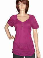 *NEW* LADIES BHS CERISE PINK EMBROIDERED COTTON SUMMER TOP BLOUSE SIZE: 10-20