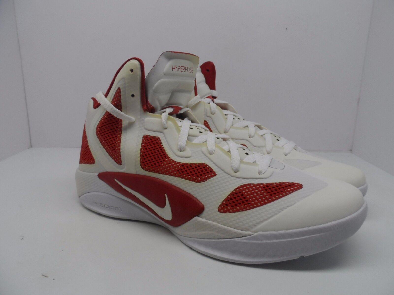 Nike Uomo Zoom Hyperfuse 2011 TB Basketball Shoe White/Varsity Red Size 12.5M