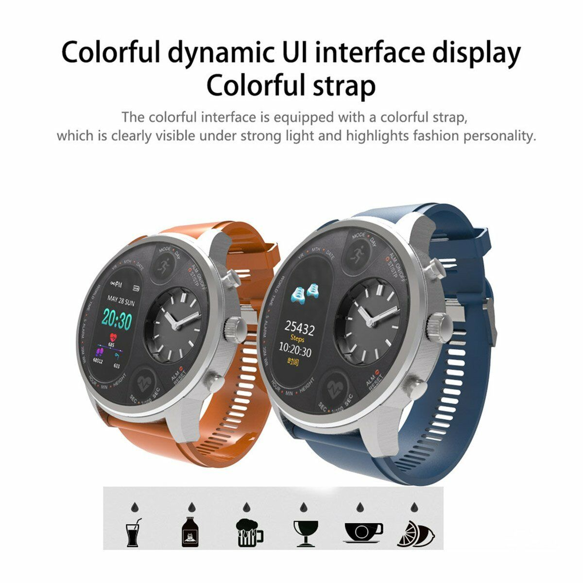 Smart Watch Bracelet Heart Rate Sleep Monitor Pedometer Fitness Dual Display Fit