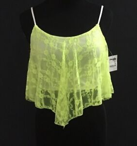 4c99219ee7b Image is loading NEW-Juniors-Charlotte-Russe-Neon-Yellow-Lace-Spaghetti-