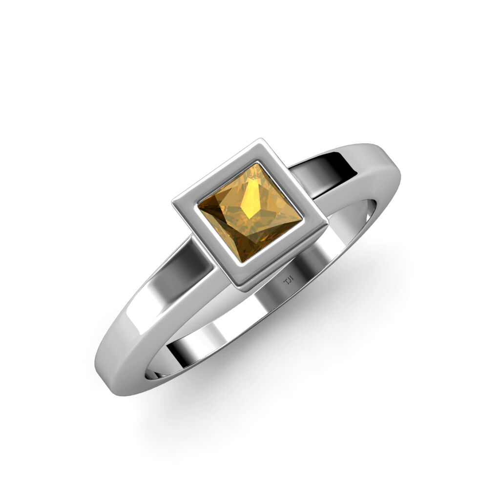 Citrine Princess Cut Solitaire Ring 1.05 ct in 14K Solid gold