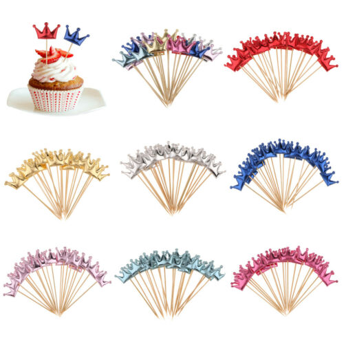 20pcs PU Leather Crown Cupcake Topper on Wooden Picks Birthday Party Cake Decor
