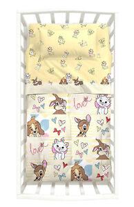 Details zu Completo Lenzuola Lettino Neonato Baby Love Giallo Bambi Marie  Disney Caleffi