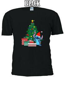 Disney-Stitch-with-Santa-Hat-Christmas-best-gift-T-shirt-Men-Women-Unisex-V112