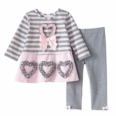 Bonnie Jean Girls Pink Heart Bow Dress ST Valentines Day Leggings Set 4 5 6 6X