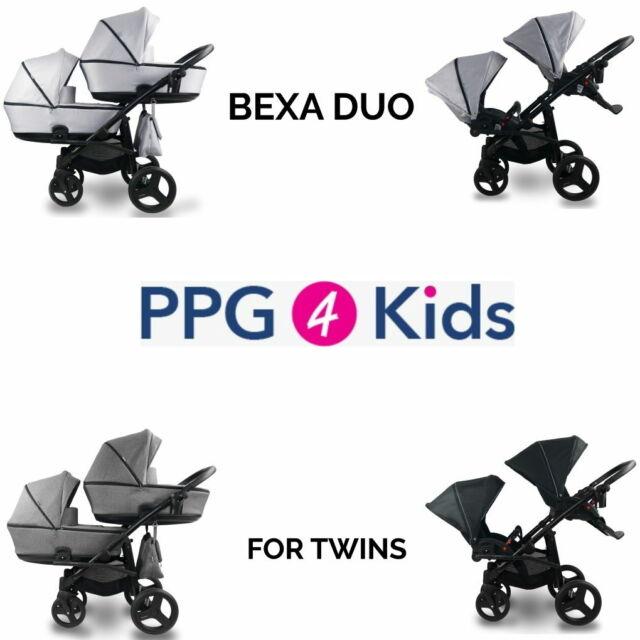 Cochecito bexa Duo para gemelos de bebé, doble cochecito + Sistema De Viaje De Asiento De 2xCar, 4in1