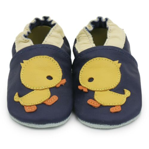carozoo duck dark blue 0-6m soft sole leather baby shoes