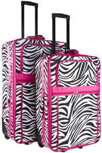 c1fd4d3fc9a9 Details about Pink Zebra Expandable 2 pc Piece Luggage Set for Travel Soft  Sided Check In