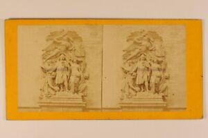 Parigi Arco Di Triomphe Basso Rilievo Francia Foto Stereo Albumina Vintage c1870