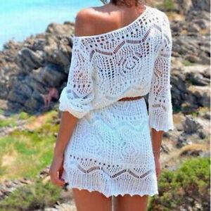 Ladies-Women-Lace-Crochet-Bikini-Cover-Up-Swimwear-Bathing-Suit-Summer-Swimwe-UK