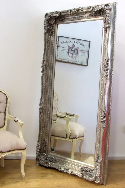 Completely new Louis Large Ornate Carved French Frame Wall Leaner Mirror Silver  GL46