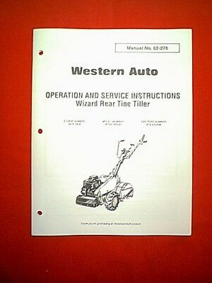 Western Auto Mtd Wizard Rear Tine Tiller Mtd4109a39 Owner With Parts Manual Ebay