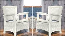 White 2 Piece Resin Wicker Storage Seat Club Chair Patio Set Outdoor Furniture