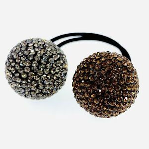 Details about USA Hair Rope Wrap use Swarovski Crystal Ball Hairpin Ponytail  Holder Brown Gray e1cd45aca6a
