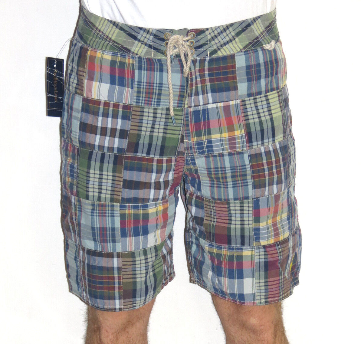 Polo Ralph Lauren Mens  Plaid Patchwork Pull Rope Swim Shorts Size 30