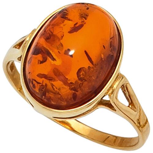 Goldring 9 quilates Bernstein anillo señora 375 oro GG Bernstein-cabochon anillo naranja