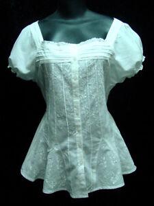 Victorian-Vintage-Boho-Bohemian-style-White-cotton-peasant-blouse-siz-S-XXXL