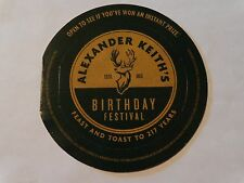 Beer Brewery Coaster ~*~ Alexander KEITH'S 2012 Birthday Festival Instant Prize