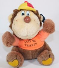 "1981 Applause 9"" Let's Be Friends Orange Shirt Cap Plush Stuffed Monkey RARE Tag"
