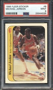 25944026 - Michael Jordan - 1986 Fleer Sticker RC Rookie #8 PSA 9 MINT