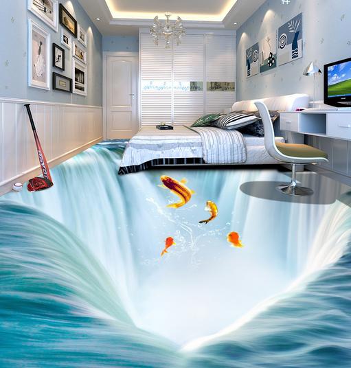 3D Sun Waterfall Fish 455 Floor WallPaper Murals Wall Print Decal AJ WALLPAPER