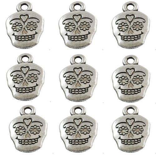 10 Tibetan Silver Sugar Skull Face Pendant Charms Gothic Halloween