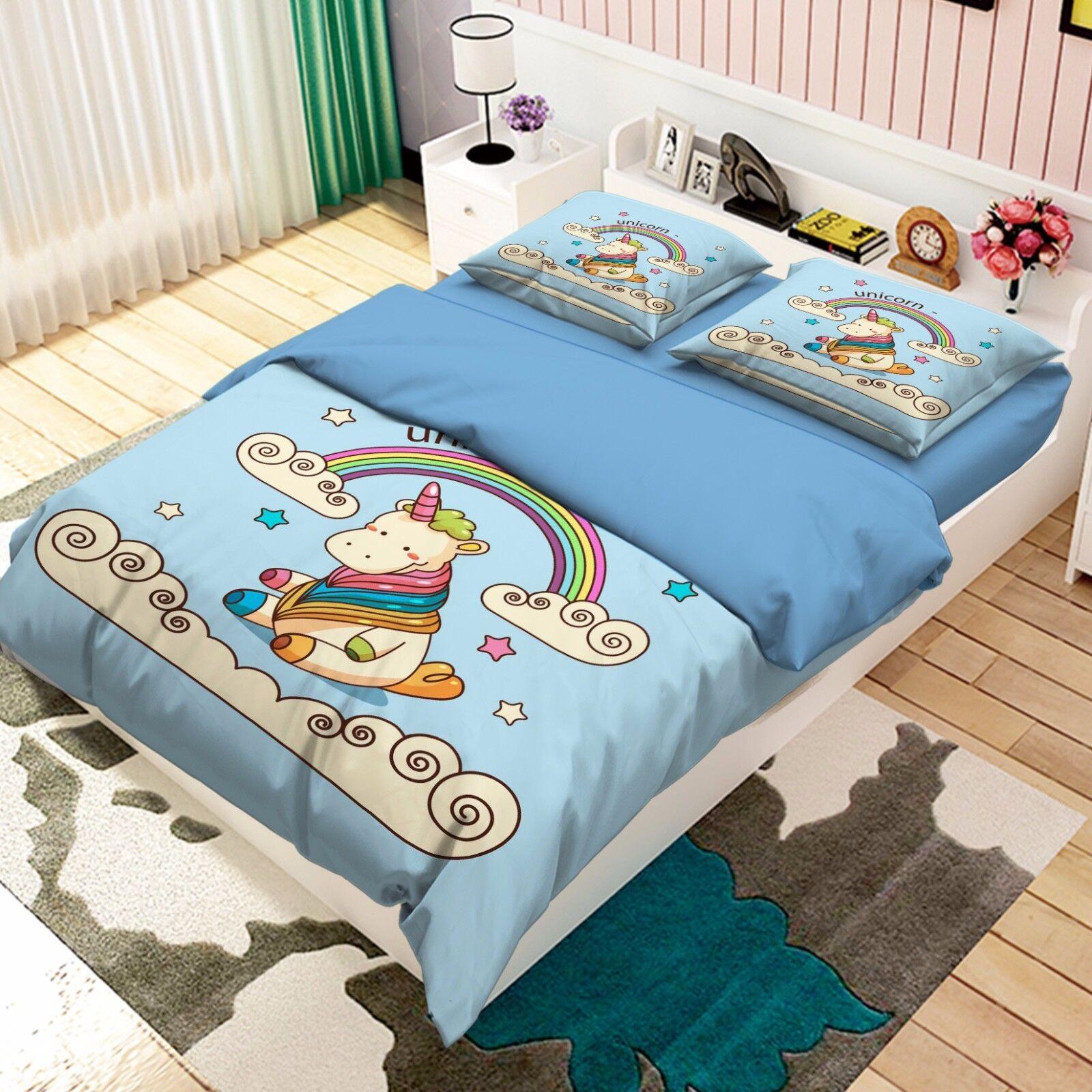 3D Rfainbow 906 Bed Pillowcases Quilt Duvet Cover Set Single Queen UK Kyra