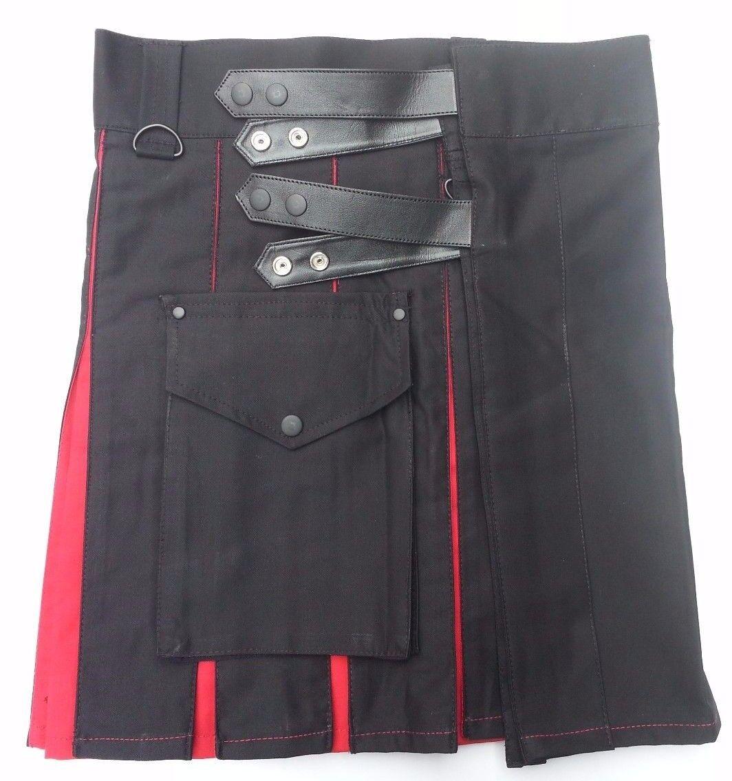 Ladies Hybrid Leather Straps Black Cotton Utility Kilt