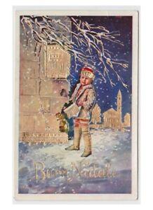 Cartoline Di Natale Anni 30.Dettagli Su Lucida Dorata Cartolina Anni 30 Bambino Biglietto Di Natale Cassetta Lettere