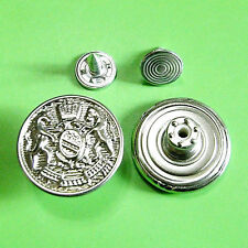 10 NO-SEW Big Metal Brass Tack Jean Jacket Coat Military Button 20mm Silver G195