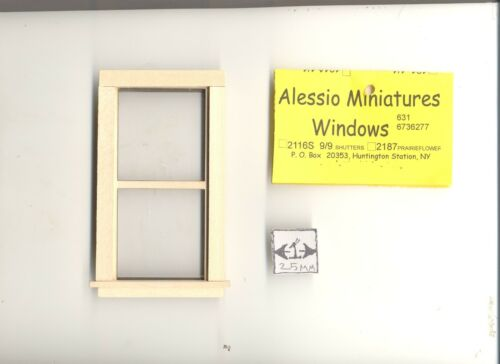 Window Double Hung 411 non-working  wooden dollhouse miniature 1:12 scale  1pc