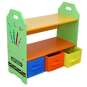 Kiddi-Style-Childrens-Crayon-Wooden-Shelves-Storage-Unit-3-Bin-Kids-Toddlers