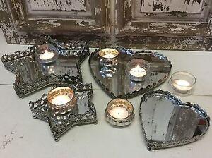 Vintage-chic-coeur-Star-miroir-de-metal-lumiere-the-plat-plateau-table-Mariage-Noel
