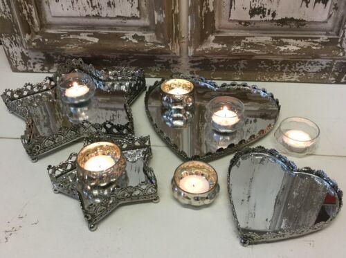 Vintage Chic Heart Star Metal Mirror Tea Light Tray Dish Wedding Table Christmas