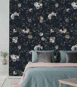 Dark Floral Mural Wall Art Wallpaper Peel And Stick Ebay
