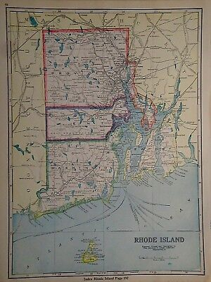 Antiques North America Maps Tireless Vintage 1930 Rhode Island Map ~ Old Antique Original Atlas Map 080718