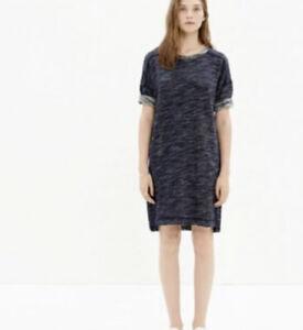 Madewell Style B1407 Marled Blue Short Sleeve Sweatshirt Dress Patch Pockets S