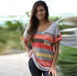 Women-Multicolor-Striped-T-Shirt-Shirt-Casual-Tops-Short-Sleeve-Blouse-Tank-Top