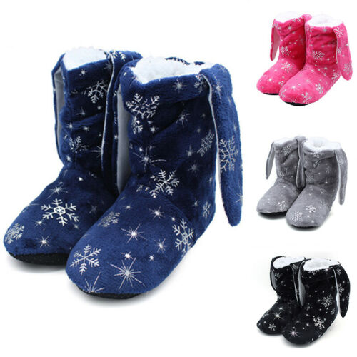 Details about  /Womens Bunny Ear Bootie Slippers Warm Ladies Boots Sherpa Lining Non Slip Sole