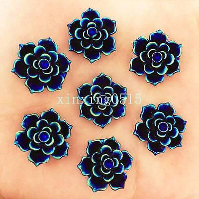 Black DIY 12pcs 25mm AB Resin 3d flower Flatback Rhinestone Wedding button craft
