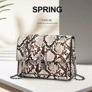 Womens-Snake-Skin-Print-Style-Shoulder-Bag-Ladies-Fashion-CrossBody-Handbag-Tote