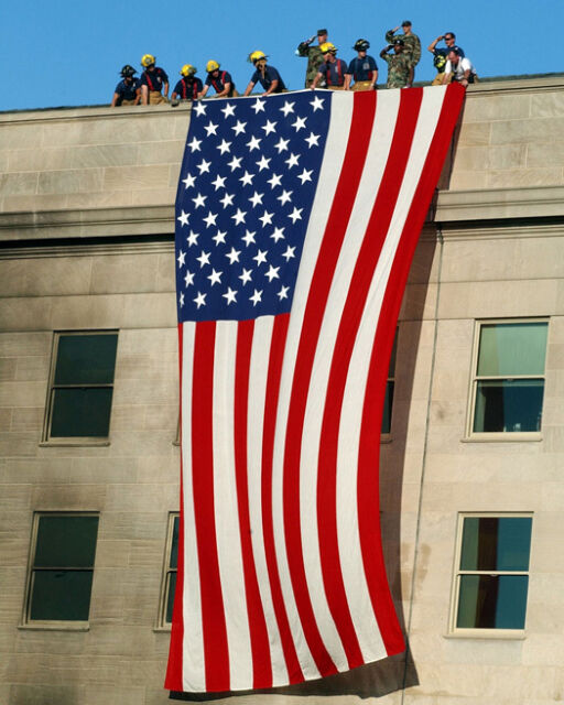 9/11 Arlington FLAG ON PENTAGON Glossy 8x10 Photo Firefighter Poster USA Print