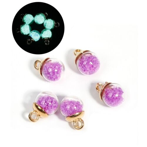 5 x Glass Bottle Glow in the Dark Charms Purple Pendant Luminous