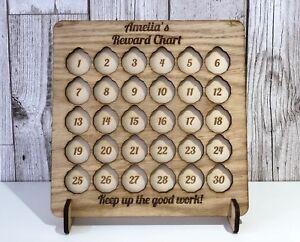 Wooden-Personalised-One-Pound-Coin-Childrens-Kids-Good-Behavior-Reward-Chart