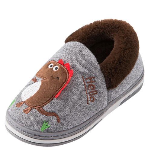 Toddler Boys Girls Dinosuar Slippers Warm Fur Cute Dinosuar House Shoes Indoor