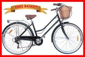BRAND VINTAGE RETRO LADIES CRUISER BICYCLE / BIKE 6 SPEED BLACK